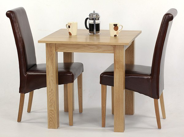 hudson 2ft 6 x 2ft 6 solid oak square dining table 2 brown leat