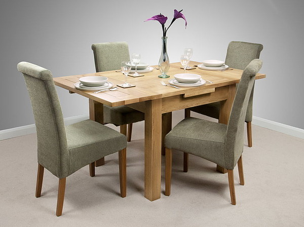 Dorset 3ft x 3ft Solid Oak Extending Dining Set + 4 Sage Fabric Chairs