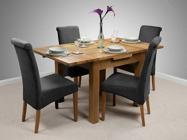 3ft rustic solid oak extending dining set 4 charcoal