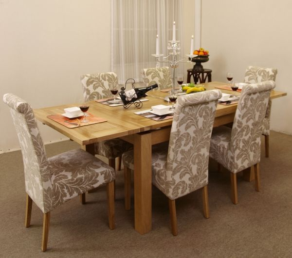 Dorset 4ft 7 extending dining table with six champagne for Dining room table with 6 chairs