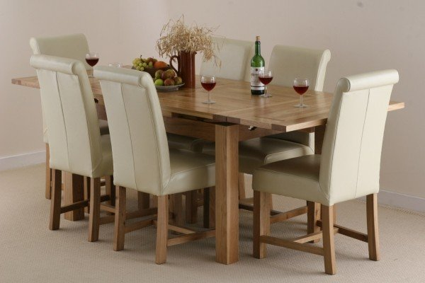 Dorset 4ft7 Extending Solid Oak Dining Table And 6 Cream Leather Braced Scrol