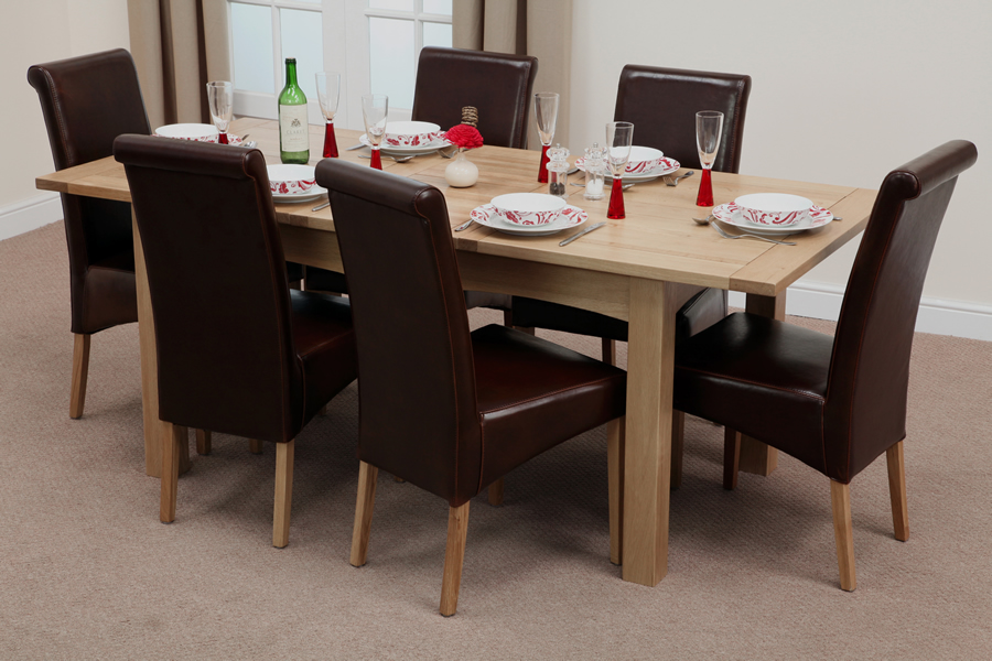 5ft x 3ft Cairo Solid Oak Extending Dining Table + 6 Brown Leather Scroll Back Dining Chairs