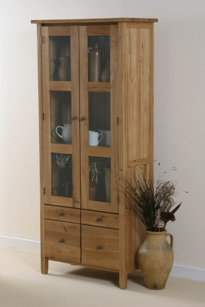 Chaucer Solid Oak Tall Glass Display Cabinet
