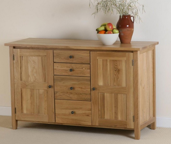 Chaucer Solid Oak 4 Drawer Sideboard