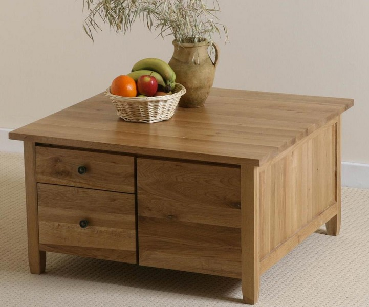 Orly Oak Square Coffee Table With Drawers