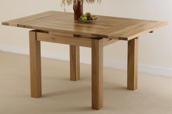 3ft x 3ft Solid Oak Extending Dining Table #1#Seats up to 6 people Extended#2#