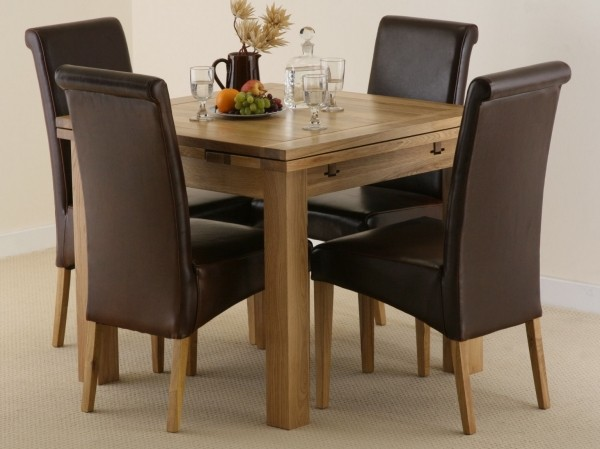3ft x 3ft Solid Oak Extending Dining Set with 4 Brown Leather Chairs #1#Seats Up To 6 People Extended#2#