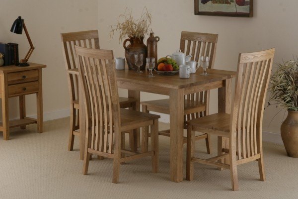 4ft x 2ft 8&amp;quot; Solid Oak Dining Table + 4 Solid Oak High Back Chairs