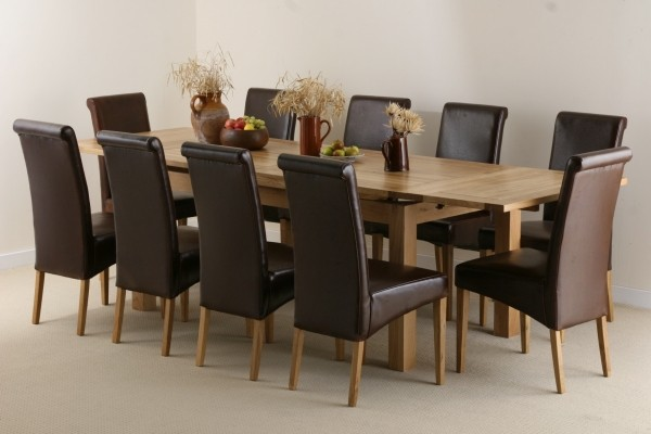 6ft x 3ft Solid Oak Extending Dining Table + 10 Brown Leather Scroll Back Chairs