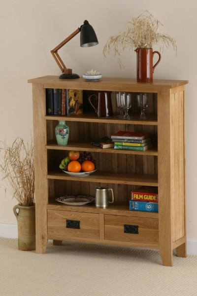 Eden Solid Oak Low Display Unit with 2 Drawers