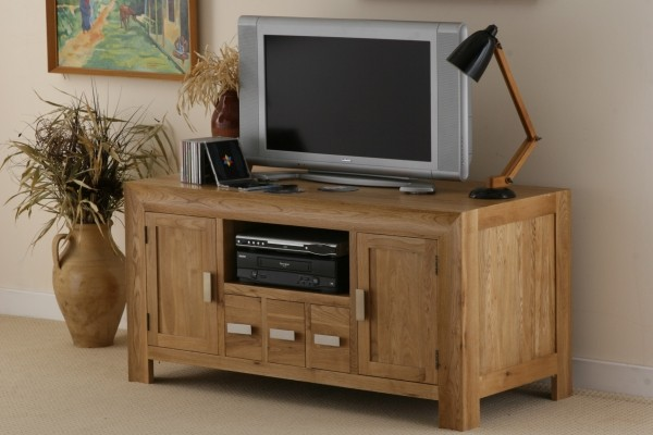 Carva Solid Oak TV DVD Video Cabinet