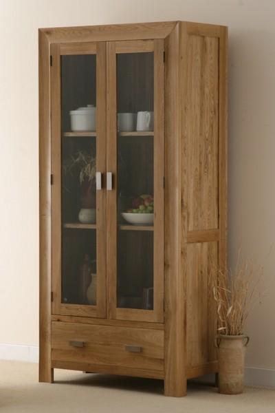 Carva Solid Oak Display Cabinet