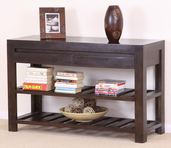 Pablo Dark Mango 2 Drawer Console / Hall Table