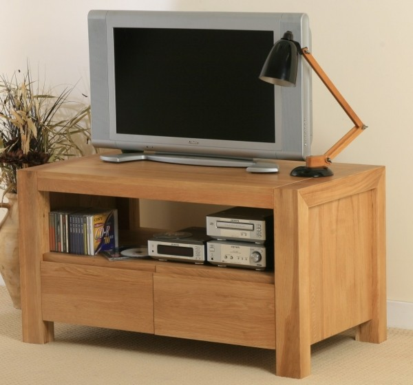 Pablo Solid Oak 2 Drawer TV Cabinet