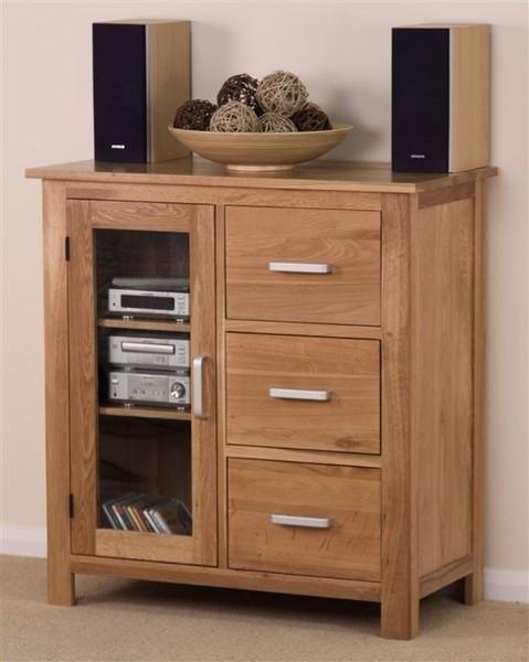 Rivendell Solid Oak 3 Drawer Glazed Cabinet