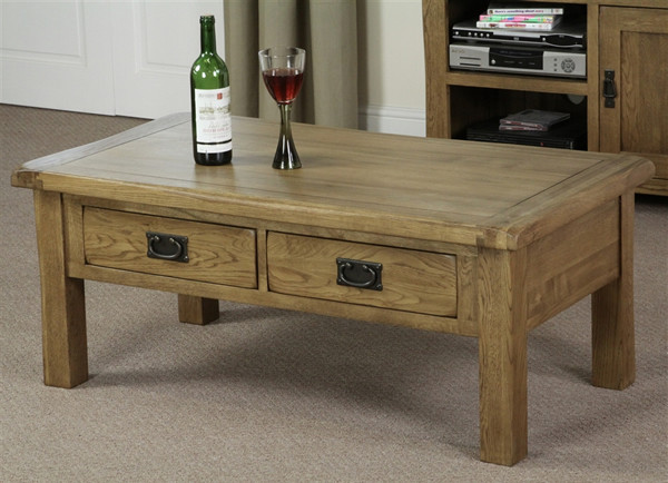 Rustic Solid Oak 4 Drawer Coffee Table