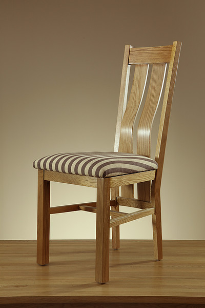 Arched Back Natural Solid Oak and Striped Brown Fabric Dining Chair