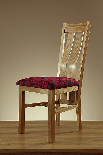 Arched Back Natural Solid Oak and Patterned Aubergine Fabric Dining Chair