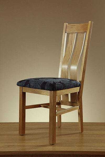 Arched Back Natural Solid Oak And Patterned Blue Fabric ...
