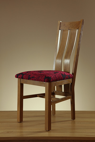 Arched Back Rustic Solid Oak and Aubergine Patterned Fabric Dining Chair