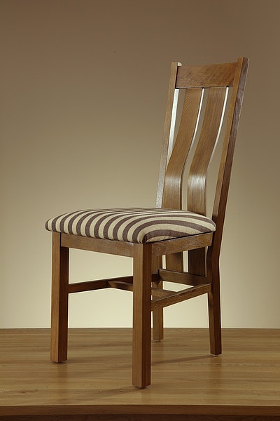 Arched Back Rustic Solid Oak and Striped Brown Fabric Dining Chair