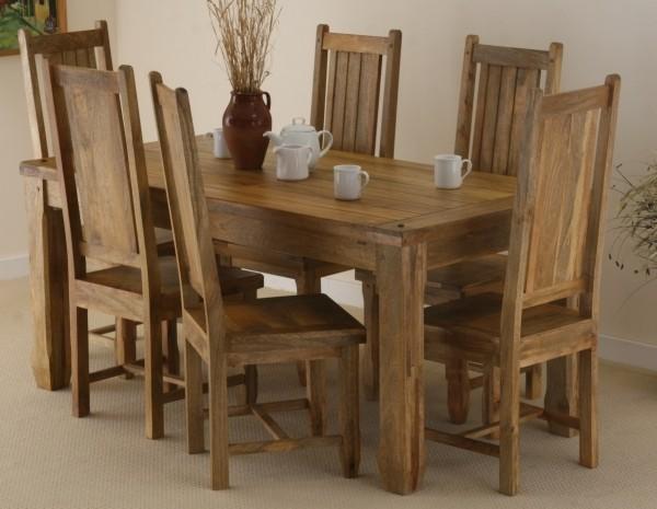 Baku Light Mango Dining Table Set With 6 Chairs