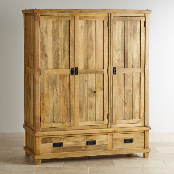 Baku Light Natural Solid Mango Triple Wardrobe