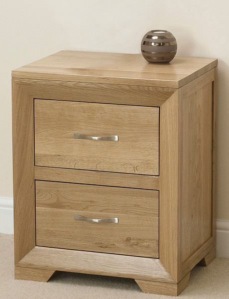 Bevel Natural Solid Oak 2 Drawer Bedside Cabinet