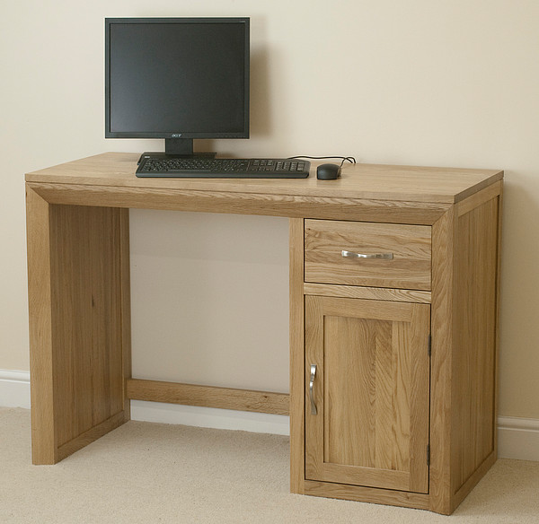 bevel natural solid oak computer desk home office furniture