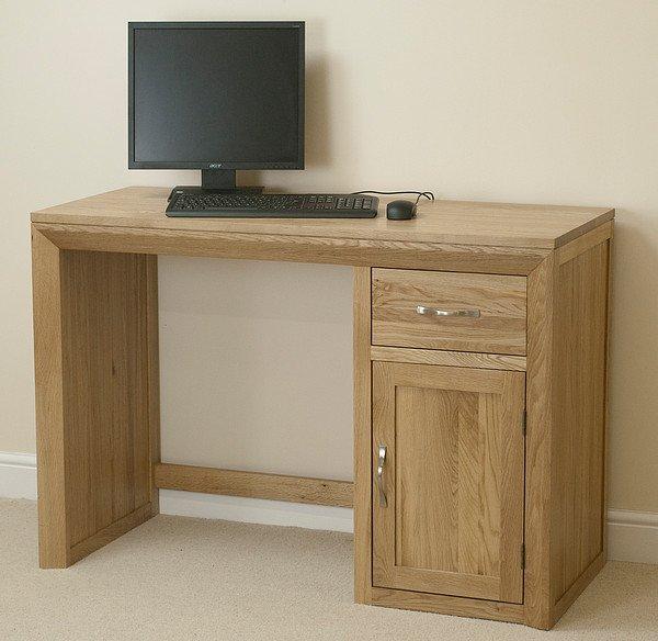 Bevel natural solid oak computer desk home office furniture - Oak office desk ...