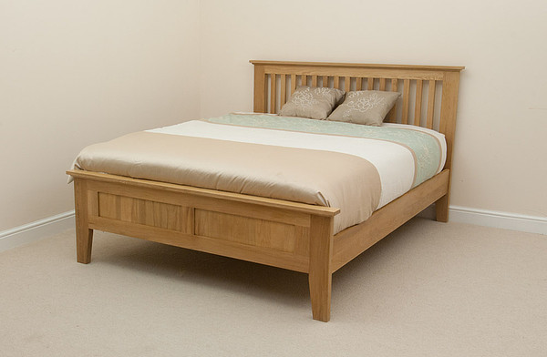 Bevel Natural Solid Oak 5ft King Size Bed