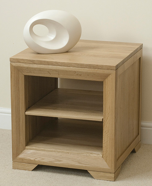 Bevel Natural Solid Oak Lamp Table