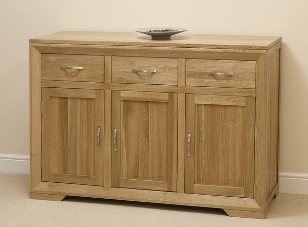 Bevel Natural Solid Oak Large Sideboard