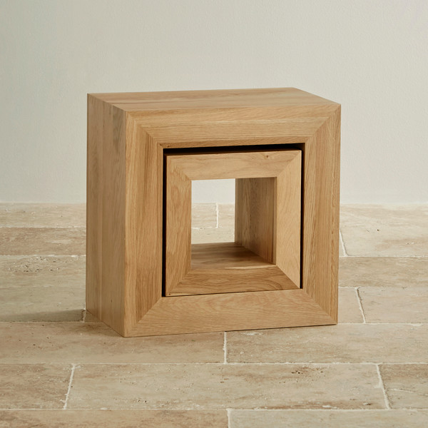 Cairo Natural Solid Oak Set of 2 Cube Nest of Tables