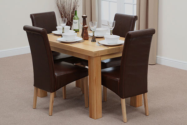 Oak Dining Sets Contemporary Chunky 4ft Oak Dining Tables Brown Scrol