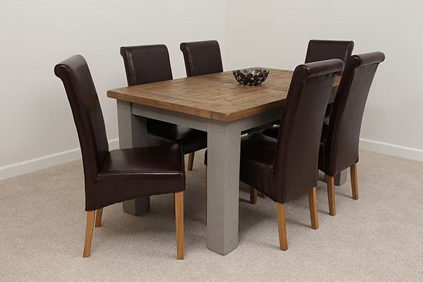 Clermont Painted Rough Sawn Oak 5ft x 3ft Large Extending Dining Table with 6 x Brown Leather Chairs