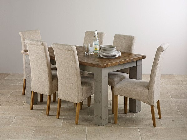 Clermont Painted Rough Sawn Oak 5ft x 3ft Small Extending Dining Table with 6 x Beige Fabric Chairs
