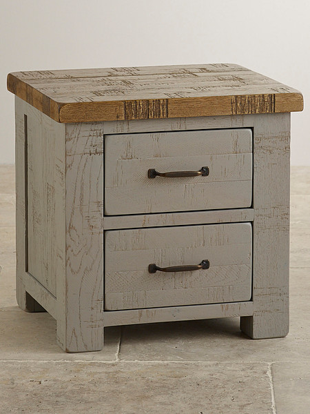 Clermont Painted Rough Sawn Solid Oak 2 Drawer Bedside Cabinet