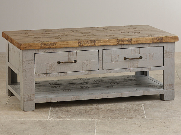 Clermont Painted Rough Sawn Solid Oak 4 Drawer Storage Coffee Table