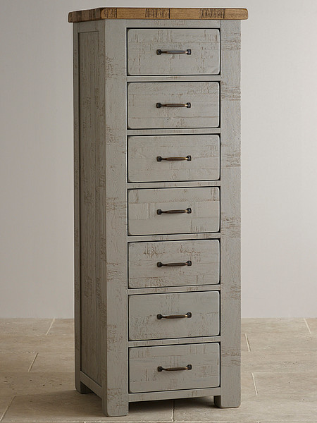 Clermont Painted Rough Sawn Solid Oak 7 Drawer Chest
