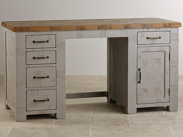 Clermont Painted Rough Sawn Solid Oak Computer Desk
