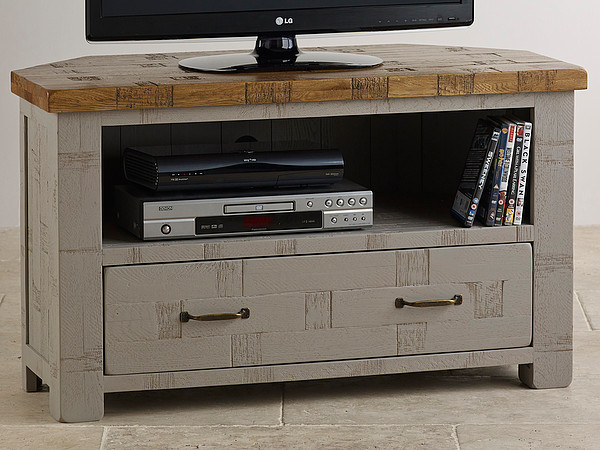 Clermont Painted Rough Sawn Solid Oak Corner TV Cabinet