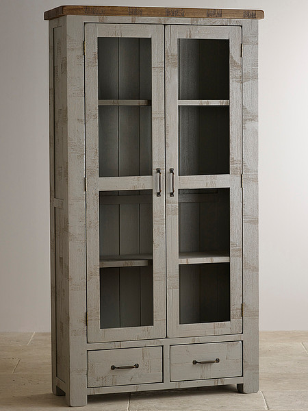 Clermont Painted Rough Sawn Solid Oak Display Cabinet