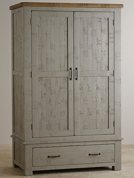 Clermont Painted Rough Sawn Solid Oak Double Wardrobe