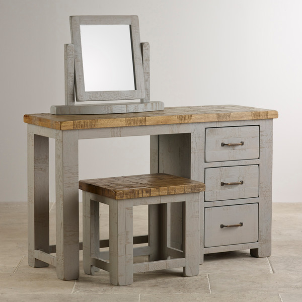 Clermont Painted Rough Sawn Solid Oak Dressing Table and Mirror Set
