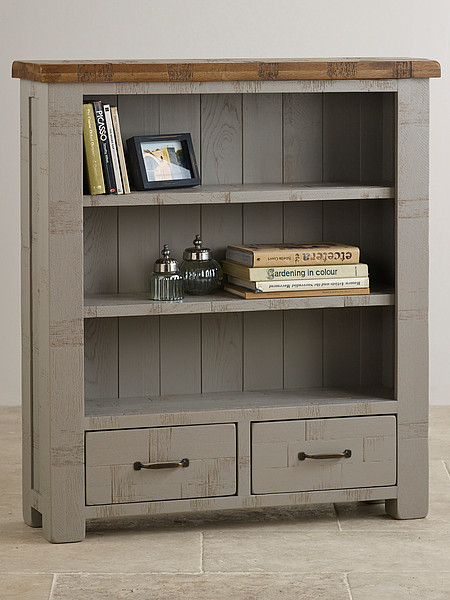Clermont Painted Rough Sawn Solid Oak Small Bookcase