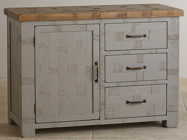 Clermont Painted Rough Sawn Solid Oak Small Sideboard