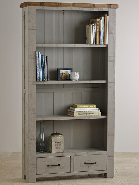 Clermont Painted Rough Sawn Solid Oak Tall Bookcase
