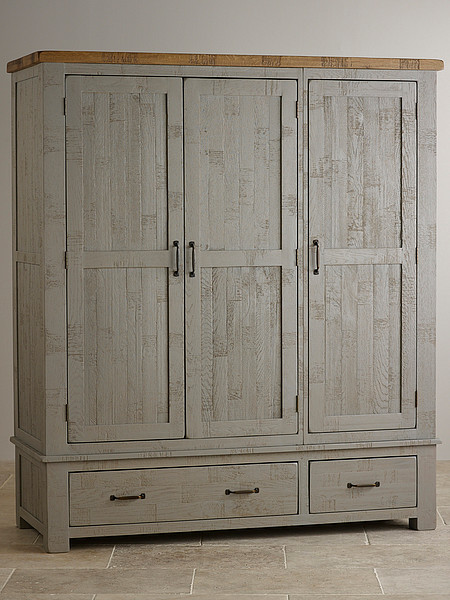 Clermont Painted Rough Sawn Solid Oak Triple Wardrobe