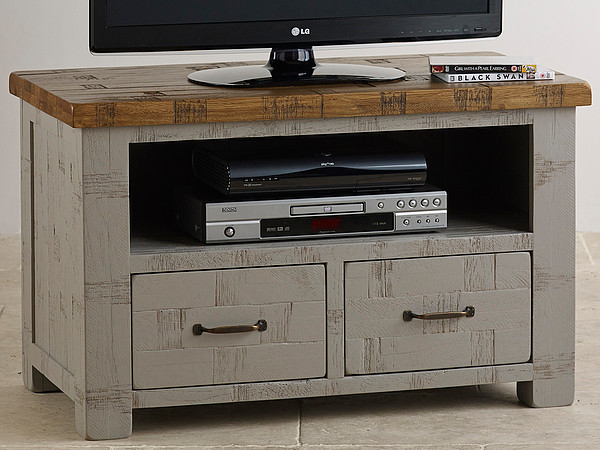 Clermont Painted Rough Sawn Solid Oak TV Cabinet